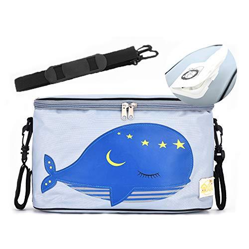 Mr.LQ Kinderwagen Buggy Organizer Bag Kinderwagen-Tasche mit Reißverschlussdeckel Plus 2 Kinderwagenhaken mit Schultergurt