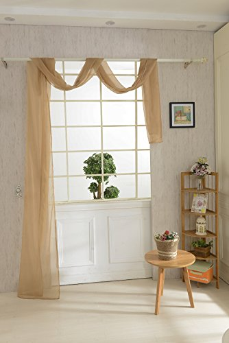Magideal mantovana tenda voile sciarpa drappo da finestra letto misura 550x80cm - 9 colori - caffè