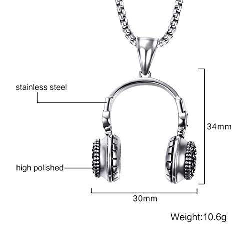 L&H 34Mm Fashion Edelstahl Kopf Hörer Anhänger Halskette Für Männer