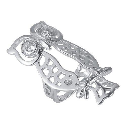 Metallband Abdeckung Ärmel Protector Mode aushöhlen Eule Muster Verschluss Zubehör Band Dekor für Fitbit Flex 2 (Silber)