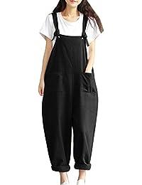 Mujer Chicas Peto Largo Pantalones Harem Casual Elegante Algodón Suelto Bolsillos Fiesta Negro XL