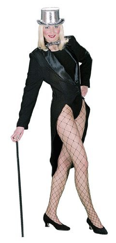 Damenfrack mit Satinkragen schwarz ohne Futterstoff, Erwachsenen-Größe:38/40