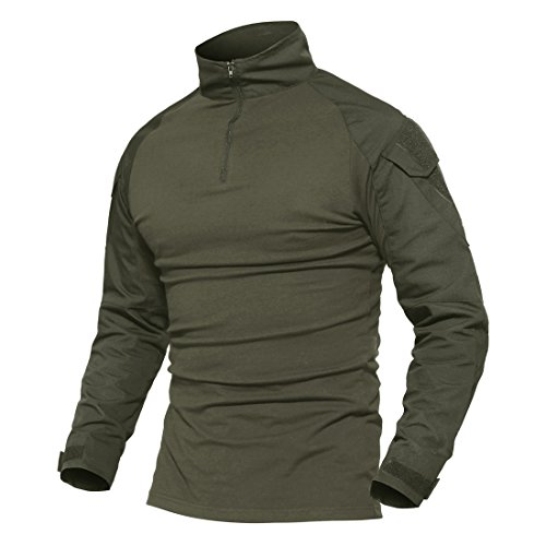 MAGCOMSEN Herren Schlank Passen Taktisch T-Shirt Militär Airsoft Tarnung Kampf Lange Hülse Shirts Mit Reißverschluss Armeegrün