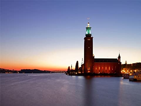 12 X 16 INCH / 30 X 40 CMS STOCKHOLM CITY HALL NIGHT PHOTO FINE ART PRINT POSTER HOME DECOR PICTURE