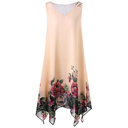 Kleid Damen,Binggong Frauen Plus Size Blumendruck Chiffon ärmellose unregelmäßige Hem Minikleid (5XL, Gelb)