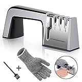 Joyoldelf Messerschärfer 4 in 1 Messerschleifer Profi-Küchenmesser schärfen Haushaltsmesser Formen und Schärfen, Knife Sharpener mit Reinigungsbürste und Schnittfeste Handschuhe
