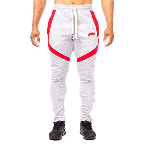 SMILODOX Slim Fit Herren Jogginghose 'Sky 2.0'| Trainingshose für Sport Fitness Gym Training | Sporthose - Jogger Pants - Sweatpants Hosen - Freizeithose Lang, Farbe:Grau/Rot, Größe:M