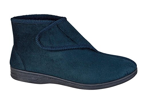DIABETIC ORTHOPAEDIC COMFORT SLIPPERS BOOTS SHOES FUR LINED EXTRA WIDE MENS NAVY...