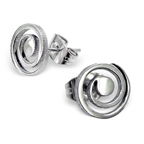 Small 7mm Round Swirl Stainless Steel Stud Earrings rjUGevVzK