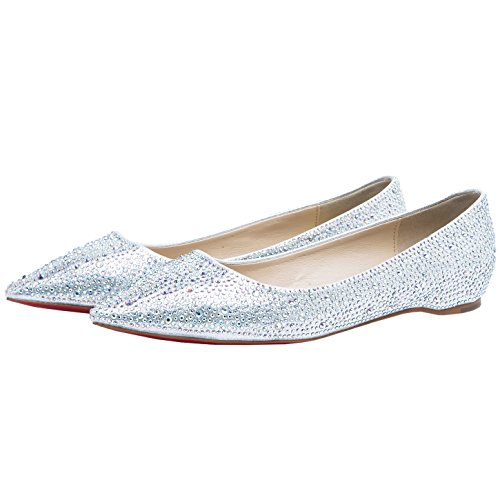 HooH Femmes Plat Bling Diamants bout pointu Semelle rouge Ballerines Mariage Chaussures Slip On Argent