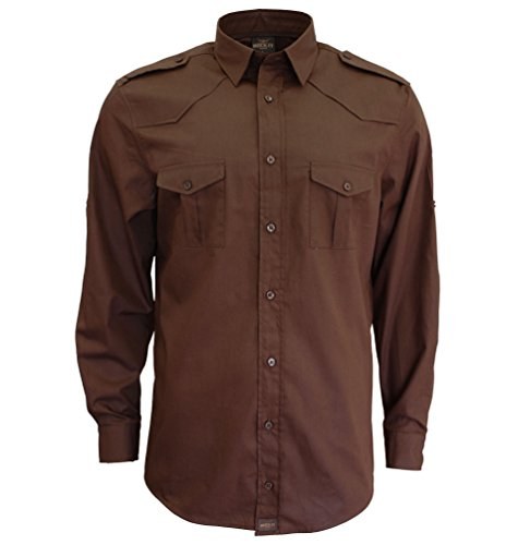 ROCK-IT Herren Hemd langarm US-Hemd military Look Worker Hemd Worker shirt Freizeit made in Europa Größen S-5XL Farbe Braun 4X-Large