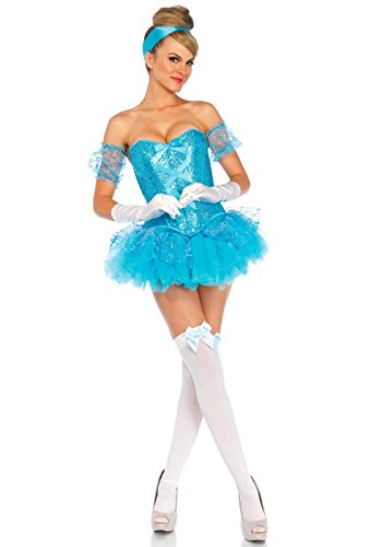 LEG AVENUE 85025 - Cinderella Kostüm, Größe S, aqua (Adult Lingerie Kostüm)