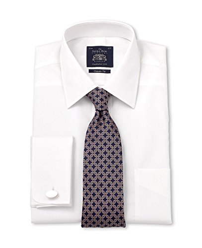 Savile Row Men's White Poplin Classic Fit Shirt White