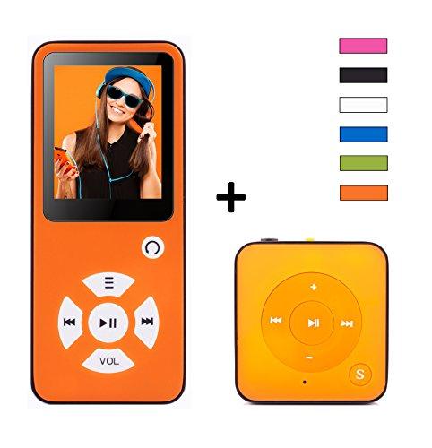 MP3-Player 2x 4 GB Royal BC01 Family Edition - 100 Stunden Wiedergabe, Lautsprecher, Kopfhörer, Schrittzähler, Hörbücher, FM Radio, Wecker, mit microSD Kartenslot für bis 128 GB microSD Karten - inkl. Mini MP3 Player und großes Zuberhörpaket - Orange von BERTRONIC
