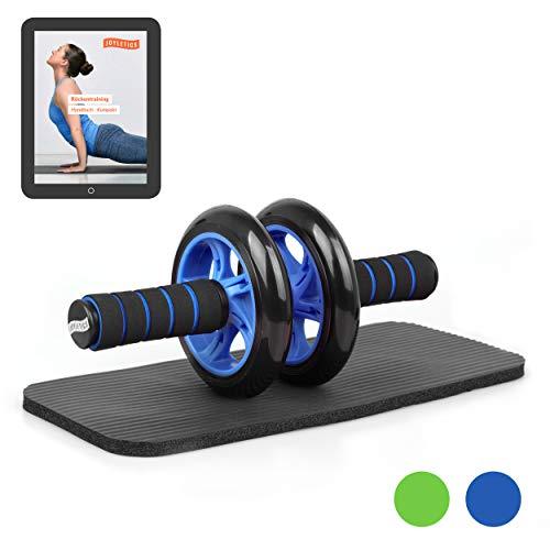 Joyletics® Bauchtrainer »Double Wheel«   Ab Roller inklusive NBR Matte für die Knie   Körpertraining mit Fokus auf die Bauch und Rückenmuskulatur – blau