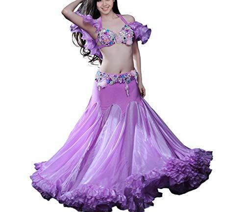 Bauchtanz Neue Kostüm - ZYLL 2019 Neue 3 Teile/Satz Bauchtanz Kostüm Frauen Dance Kostüm Kleidungsstück Sets Kostüm Tribal Kostüm Bollywood Kleid Indian Dance Kleid,S