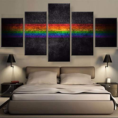 Zum Aufhängen bereit - 5 stück leinwand Abstrakte Farbe Unsere Welt Mit Stolz Regenbogen Leinwandbild malerei raumdekor poster drucken wandkunst - Bild auf Leinwand fünfteilig