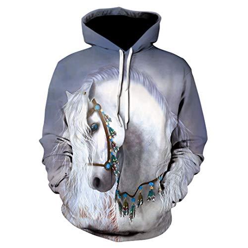Pferd T-Shirt Männer und Frauen 3D Printed Tier Herbst Lässige Hoodie C03 XXXL