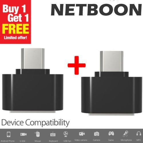 Netboon 2PCs OTG Adapter Micro USB To USB 2.0 Converter For Android Smartphone And Tablet - Black  available at amazon for Rs.145