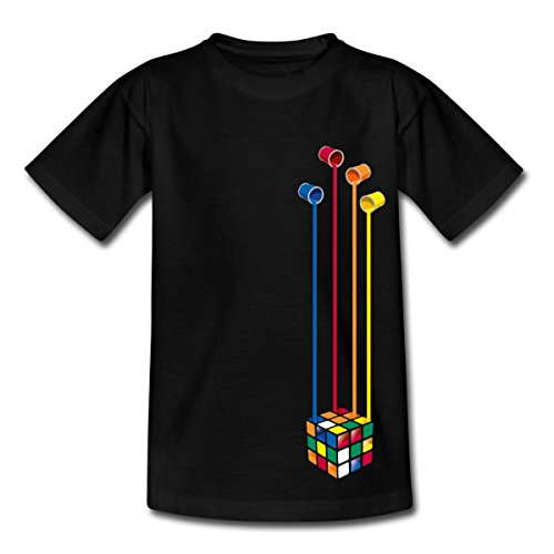 Spreadshirt Rubik's Cube Zauberwürfel Farbeimer Teenager T-Shirt, 152/164 (12-14 Jahre), Schwarz (80er-jahre-spiele-t-shirts)