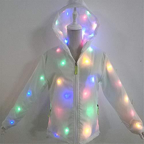 Regenbogen Licht Jacke Unisex Kapuzenjacke Kleidung Neuheit Nachtlauf Cool Warm Coat,XL ()