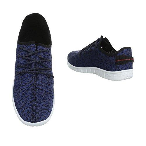 Turnschuhe Herrenschuhe Low-Top Sneakers Schnürsenkel Ital-Design Sneaker Blau