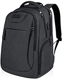 KROSER School Laptop Backpack for 15.6-17.3 Inch Laptop Anti-Theft Large Travel Computer Backpack with USB Charging Port Water-Repellent Casual Daypack for Business/College/Men/Women-Charcoal Black