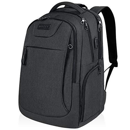 KROSER Laptop Rucksack 15,6-17,3 Zoll Schulrucksack Reise Daypack Wasserabweisende Laptoptasche mit USB-Ladeanschluss für Reisen/Business/College/Frauen/Männer Schwarz MEHRWEG