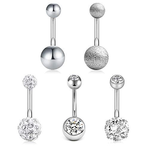 AVYRING 14G Bauchnabelpiercing 10mm Stab Chirurgenstahl Diamond CZ Bauchnabel Ringe Piercing für Damen Mädchen Köper Schmuck Piercing 5 Stück - Silber