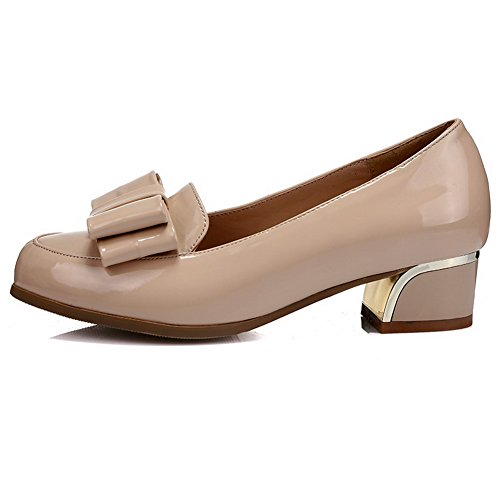 AgooLar Damen Ziehen Auf Rund Zehe Niedriger Absatz Pu Leder Pumps Schuhe Aprikosen Farbe
