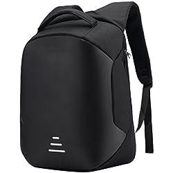 USB Mochila de seguridad con cargador,STRIR Mochila Bolsa Impermeable de colegio viaje negocios, Mochila para ordenador portátil 15.6, regalo para estudiantes/hombre /mujer (Negro)
