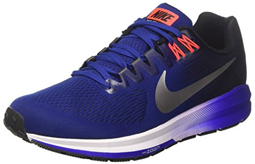 Nike Herren Air Zoom Structure 21 Laufschuhe, Mehrfarbig (Deep Royal Blue/Metallic Silver/Black), 44 EU