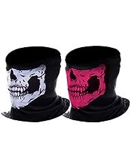 eBoot Máscara de Calavera Máscara Motocicleta, Rosa y Blanco, 2 Piezas