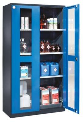 asecos Chemikalienschrank - Tür mit Sichtfenstern - Türfarbe lichtgrau RAL 7035 - Chemikalienschrank Gefahrstoffschrank Schrank Schutzschrank Schutzschränke Sicherheitsschrank Sicherheitsschränke Umweltschrank Öl-Lagerschrank Öl-Lagerschränke