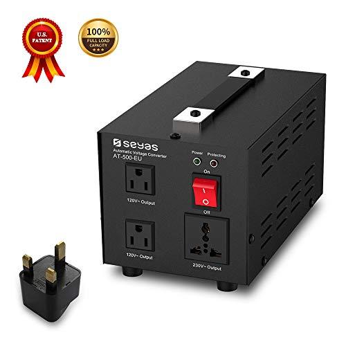 SEYAS 500W Spannungswandler USA Voltage Converter 220V auf 110V Transformator Automatisch Step Up & Step Down mit U.S. Patent (500W) -