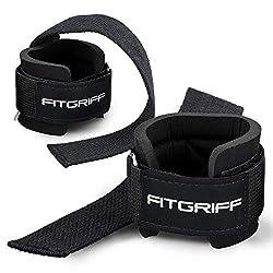 Fitgriff Zughilfen mit Handgelenkschutz Comfort Zughilfe für Krafttraining, Fitness, Bodybuilding und Gewichtheben - für Frauen und Männer - 2 Jahre Gewährleistung (Schwarz)