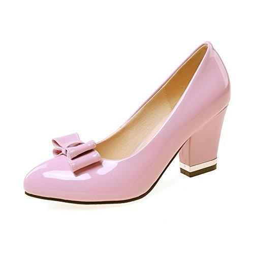 Puxar Voguezone009 Couro Senhoras No Salto Alto Dedo Apontado Bombas Sapatos Puro Roxo