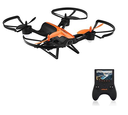 Virhuck T905F 5.8 GHz RC Drone Quadcopter, avec 720P HD Caméra, 6 Axis Gyro, maintien d'altitude, Mode Sans Tête, Décollage à une touche, Prise de vue aérienne RTF FPV – Orange Noir