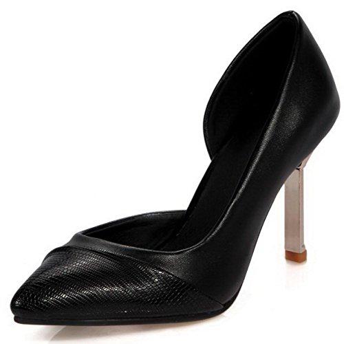 AllhqFashion Femme à Talon Haut Couleur Unie Tire Matière Souple Pointu Chaussures Légeres Noir