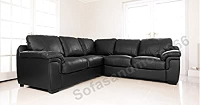 AMY Corner Sofa Suite in Black PU Leather