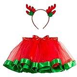 Fossen Disfraz Navidad Bebe Niña Fotografia Tutu Falda Corta + Conjunto de Diadema (2-4 años, Verde)