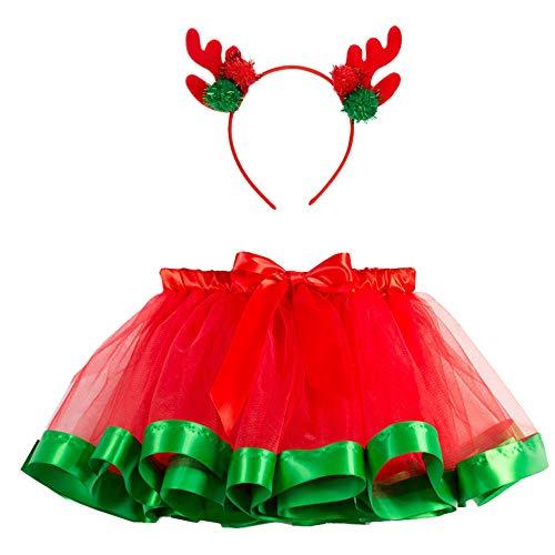 i-uend Weihnachten Baby Outfits, Mädchen Kinder Tutu Party Ballett Regenbogen Baby Kostüm Rock + Hirsch Stirnband Für 2-11 Jahre