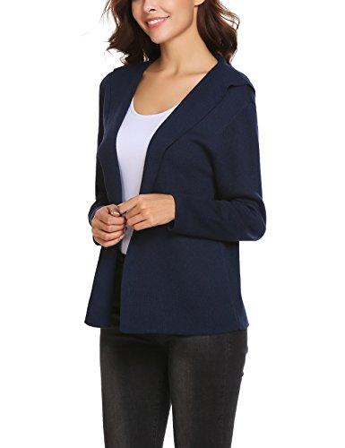 Plunge Damen offne Strickjacke Cardigan mit Kapuze V-Ausschnitt Langarmshirt Noos Blau
