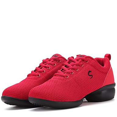(Frauen Tanzschuhe Stoff Stoff Tanz Sneakers / Modern Sneakers Low Heel Outdoor Baby / Weiß / Rot, Rubin, US8.5 / EU39)