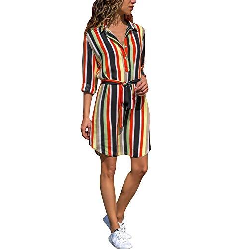 AMUSTER Damen Elegant Hemdkleid Frauen Streifen Kleid Sexy Böhmen Langarm Minikleid Damen Beiläufiges Langarm Minikleid T-Shirt Kleid mit Gürtel