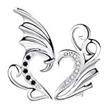 ofvsdhftgj mode moitié amour coeur aile pendentif boîte cadeau chaîne couple Bijoux Collier 2Pcs-argent