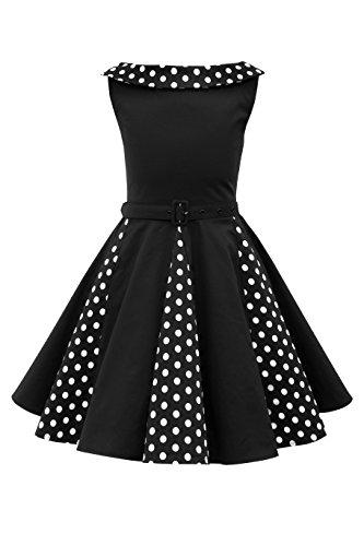 BlackButterfly Kinder 'Alexia' Vintage Polka-Dots Kleid im 50er-J-Stil (Schwarz, 7-8 J)