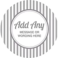 Stripes Grey Sticker Labels Personalised Seals Ideal for Party Bags, Sweet Cones, Favours, Jars, Presentations Gift Boxes, Bottles, Crafts