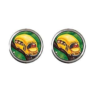 GiftJewelryShop Plaqué argent Boucles d'oreilles clous en forme de Bus scolaire Jaune - 12 mm de diamètre