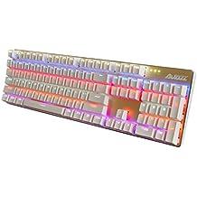 MagiDeal AJAZZ-AK52 USB Teclado de Juego Mecánico con Cable Ergonómico RGB104 Teclas para PC